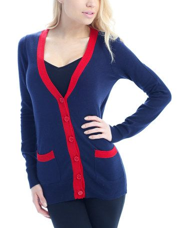 Navy & Red Contrast Pocket Deep V-Neck Cardigan #zulily #zulilyfinds