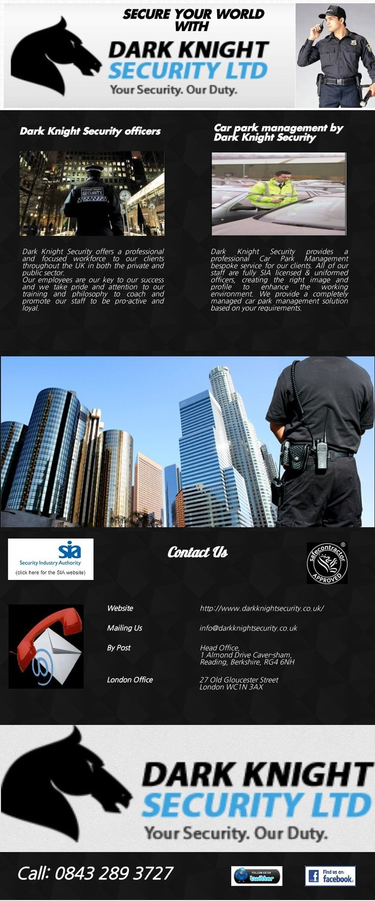 Dark Knight Security Limited are fully licensed by the SIA (Security Industry Authority), trained to the highest standards and routinely put through re-testing and extra training. Dark Knight Security is pleased to offer a free security audit, with no obligation to book our SIA security guard services.