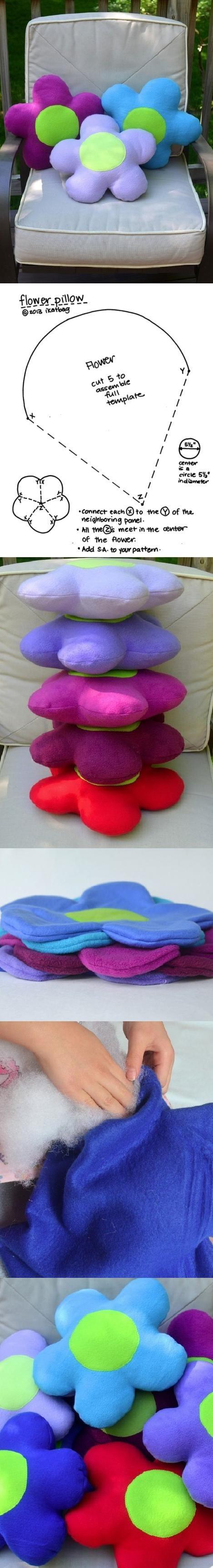 DIY Almofadas em formato de flor para quarto de bebê.