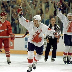 Team Canada forward Mark Messier celebrates a goal during the 1987 Canada Cup. (Doug MacLellan/HHOF) Legends of Hockey - Gallery - Pro Classics, 016