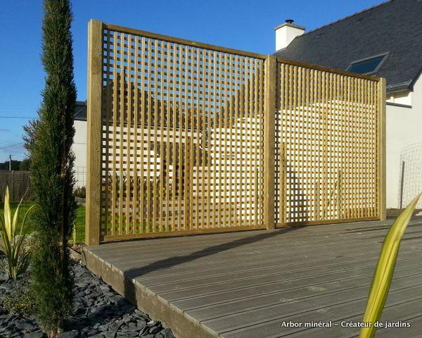 Installation clôture panneaux bois Arbor Minéral Vannes Auray Plougoumelen, Morbihan, Baden