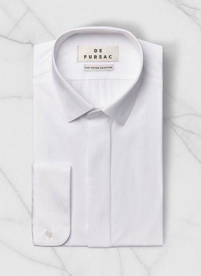 Chemise petit col français et gorge cachée - Popeline de coton égyptien - Blanc