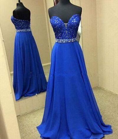 Charming Royal Blue Prom Dress,Sweetheart Evening Dress,Beading Chiffon Party Dress
