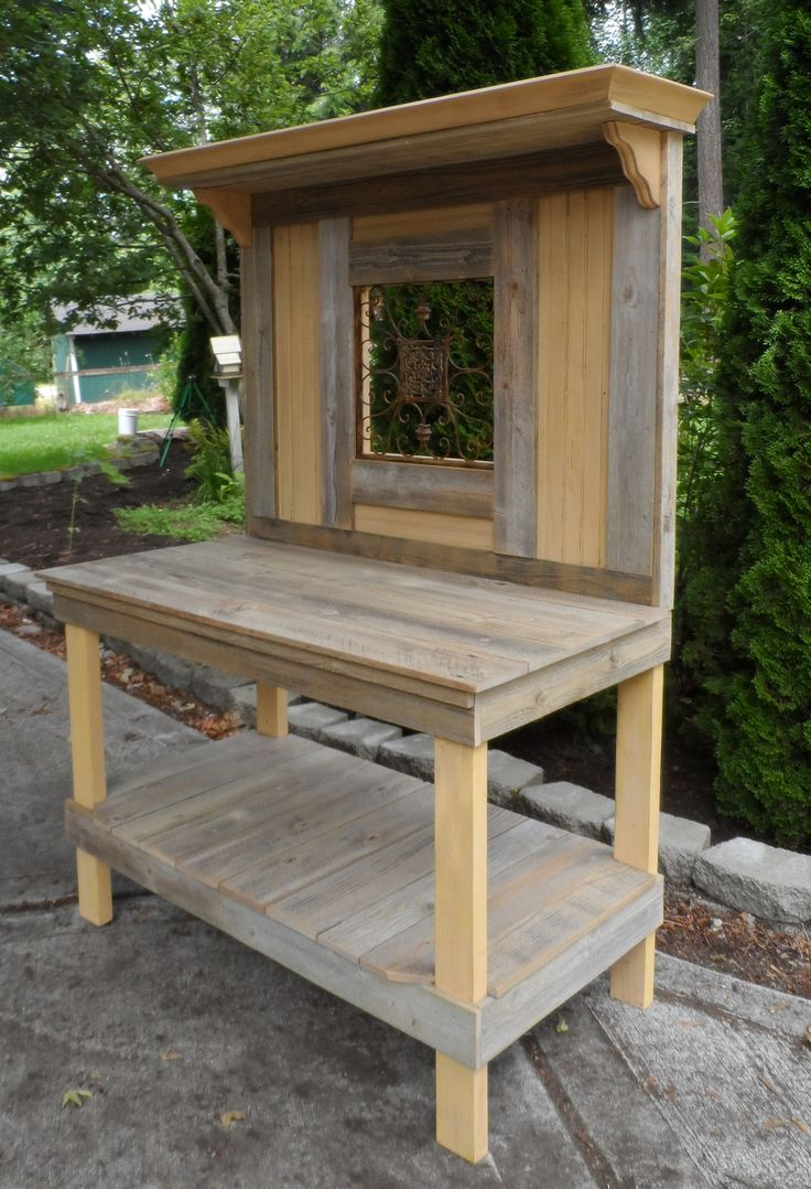 ornament table about bench pallet ideas home for potting garden blytheprojects