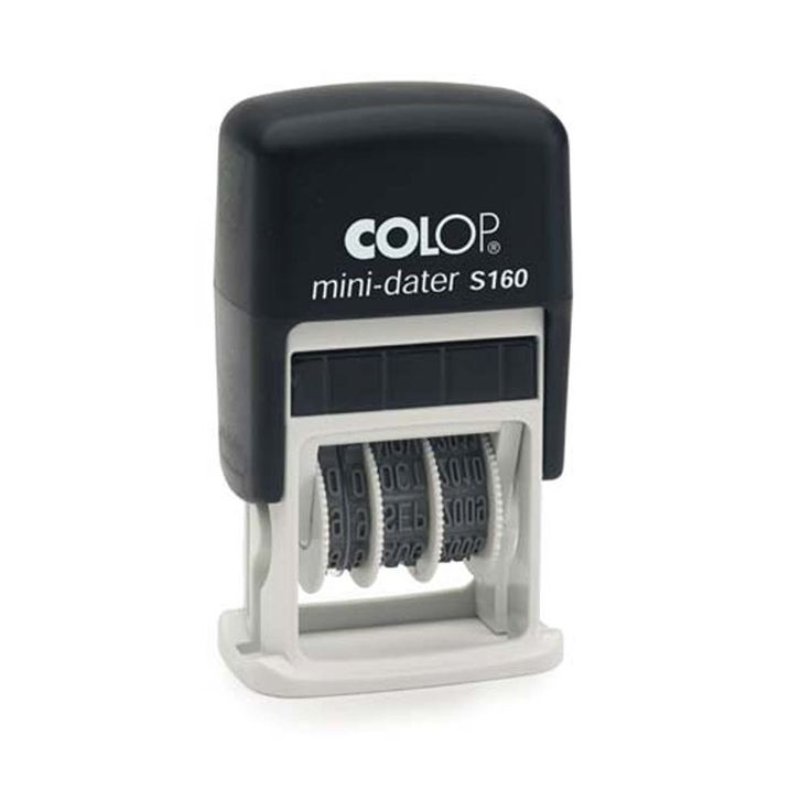 Colop Printer 160. Stempel met doordraaibare datum en ruimte voor en eigen tekst. Handig klein stempeltje.