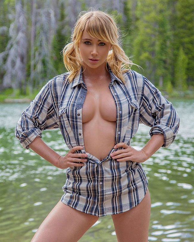 Hot model and professional poker player travels around for Topless girls fishing