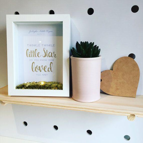 Twinkle twinkle little star shadow box nursey christening birthday custom personalised gift by LittlePantsDesigns
