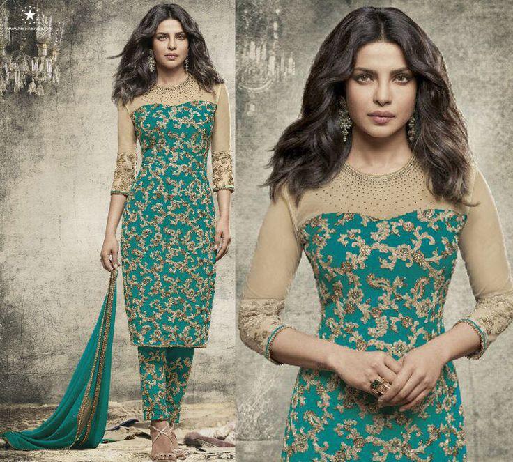 Indian designer pakistani salwar kameez suit punjabi party frock churidar dress  #Handmade #salwarkameez