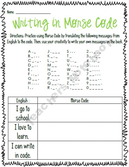 Writing in Morse Code..for use in building telegraph with electricity and magnetism