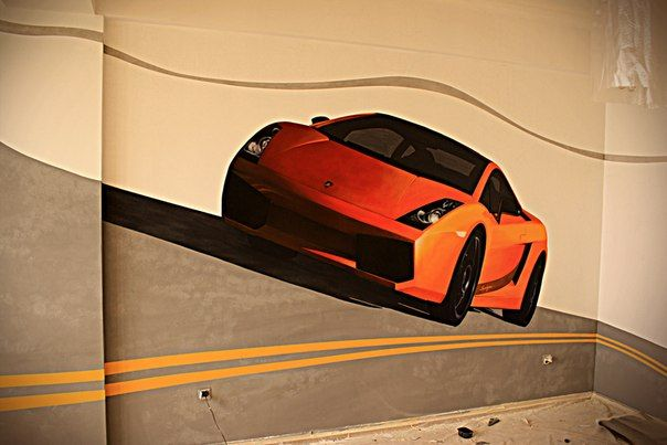 Cool Car Hand Painted Wall Mural For A Teenageru0027s Room | Race Car Mural For  A