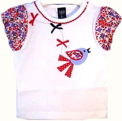 Camiseta niña de verano con mangas farol en popelín estampado - Polos y Camisetas Niño y Niña hasta los 4 Años - Mundo Kiriko