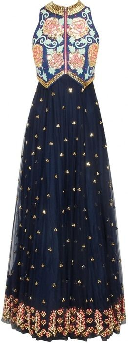 Roposo.com - embroidered flared anarkali-suits with beads  for women navy blue beads embroidered flared anarkali available only at pernia's pop up shop.