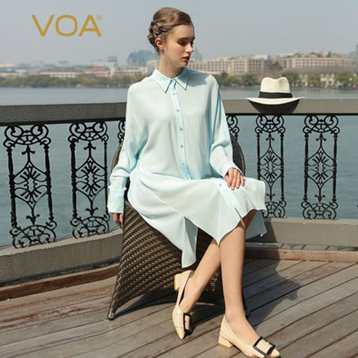 >> Click to Buy << VOA Brand Women Blouses Summer 2017 Silk Sky Blue Long Sleeves Turn-Down Collar Plus Size Women Clothing B7710 #Affiliate