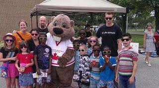 Alex the CNE Beaver making an appearance at Westway Christian Church