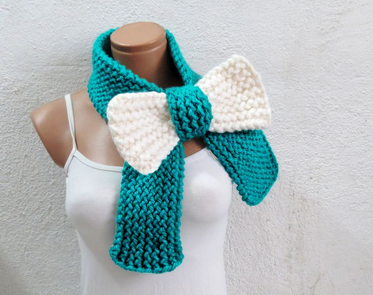 Knitted Bow Scarf Chunky Knitted Bow Ascot Neck Warmer Women's Scarf Fashion Accessories in Neon Mint Cream, SCARVES, 2014 Trend by EmofoFashion on Etsy