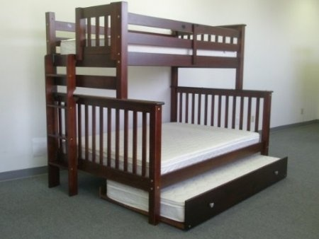bunk bed twin over twin mission style in cappuccino with twin trundle 1