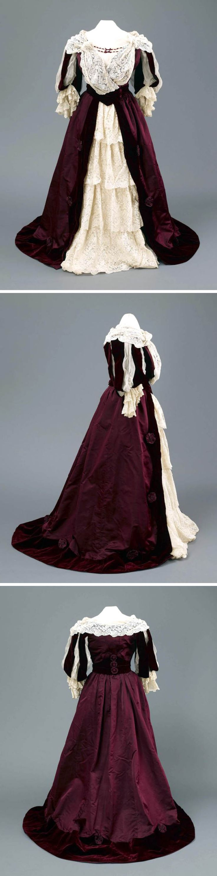 Ballgown, Mme. E. Clapham, 1887. Bodice & skirt of maroon satin decorated with cream lace. Hull Museums via mylearning.org