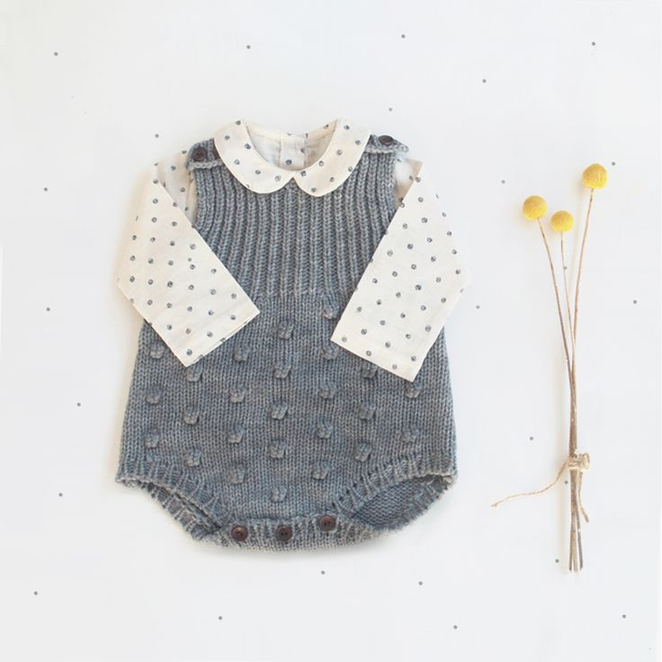 Cosy and timeless outfit with our baby knitted romper and Peter Pan collar top