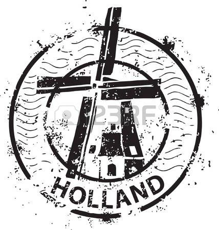 holland stamp: Sello de molino de viento en Holanda