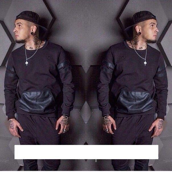 Фото Мужской спортивный костюм Black Star эко-кожа Dress Code АМ1 003 черн бел меланж M L XL 2050руб.jpg