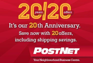 It's our 20th Anniversary Special. Click now to access 20 offers for the Holidays, including special shipping savings. You can save $20 or 20%. Valid at participating PostNet locations only.