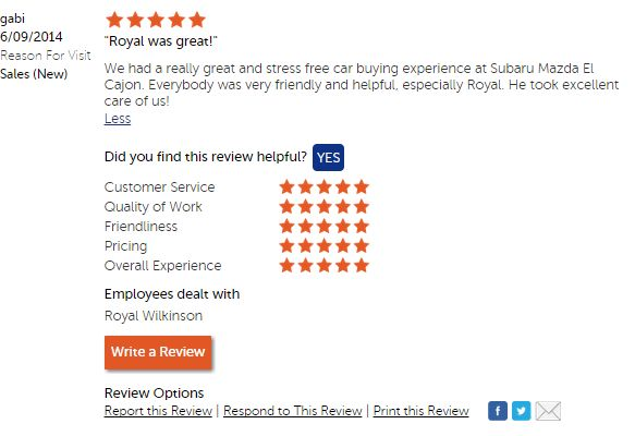 That's wonderful! #CustomerService #MazdaElCajon
