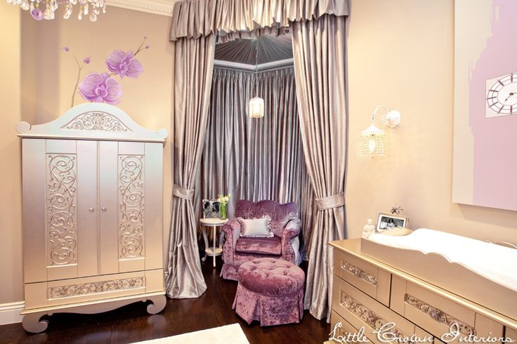 Mel B's celebrity nursery design by Little Crown Interiors featuring a custom glider and silver furniture