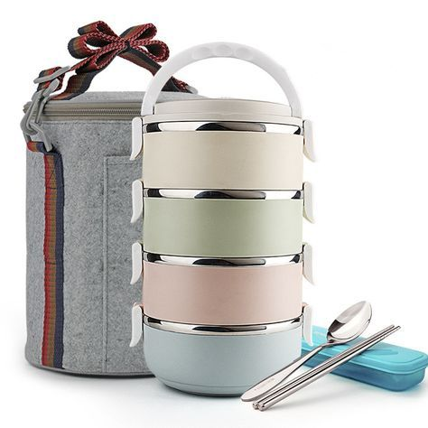4 layer Large Stainless Steel Lunch Box with Bag Detachable Random Assembly dinnerware Set Food Container bento Lunchbox Thermos