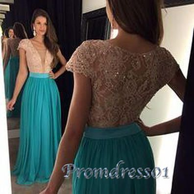 Modest prom dress, pretty lace chiffon long prom dress with sleeves #coniefox #2016prom