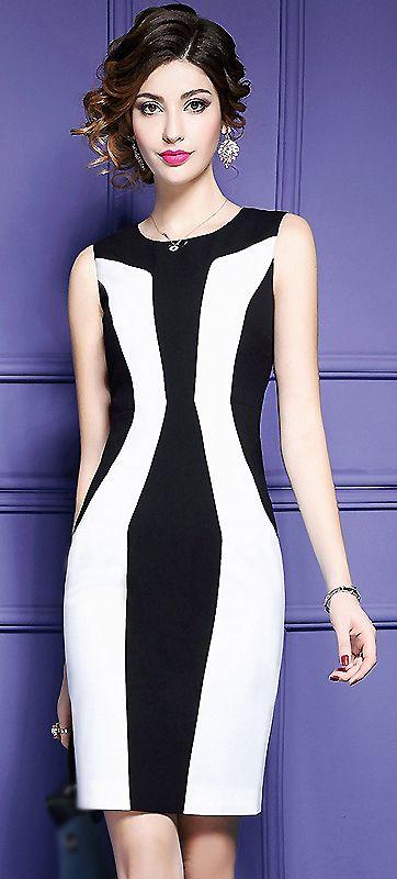 Fashion O-Neck Hit Color Bodycon Work Dress