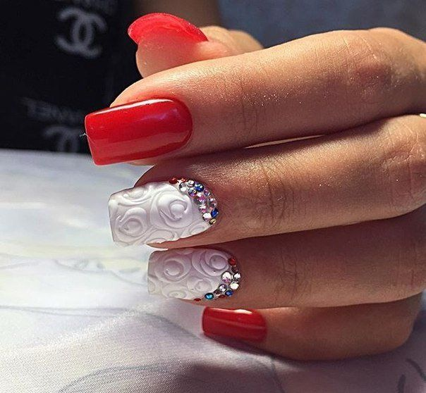 3d nails, Dimension nails, Embossed nails, Fall nails 2016, Fashion autumn nails, Manicure on the day of lovers, Nails for love, Nails ideas 2016