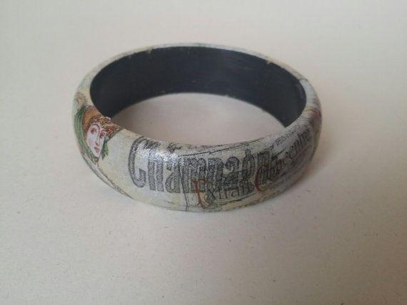 Wooden Decoupage Vintage Bangle Bracelet