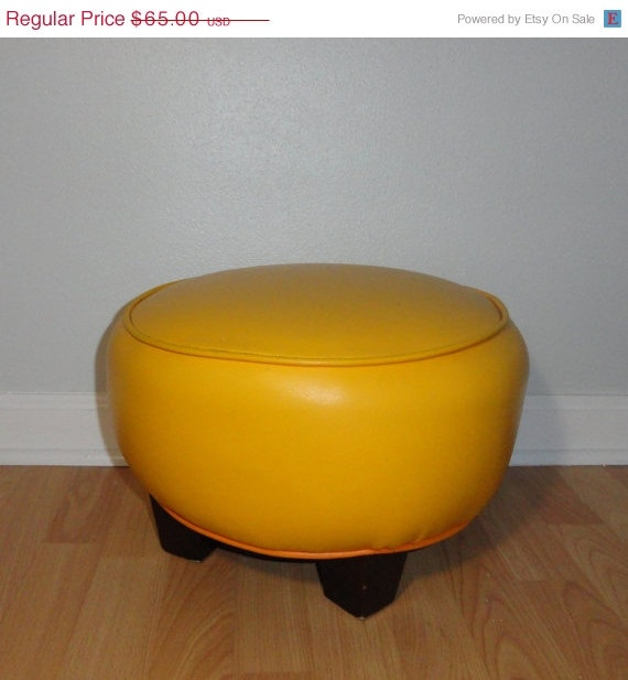 SALE Vintage Ottoman  Round Yellow Ottoman  by TheVintageJunktion, $55.25
