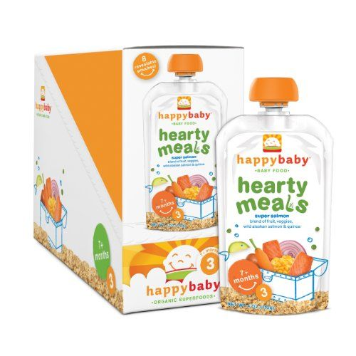 Happy Baby Organic Baby Food 3 Hearty Meals, Super Salmon, 4-Ounce Pouches (Pack of 16) 4 Ounce Pouch (Pack of 16). Yummy new recipe. Perfect for 7+ Months. Good source whole grains; contains no gluten, soy, dairy, or added sugars. 100% Natural and Organic; We support sustainable agriculture; No pesticides; no chemical fertilizers; no GMOs.  #HAPPYBABY #Grocery