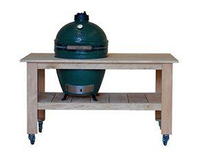 Een ambachtelijke Big Green Egg tafel voor de echte buitenkok. De Big Green Egg tafel Outdoor Classic is gemaakt van eikenhout met natuurstenen werkblad.