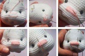 Pretty bunny amigurumi - nose embroidering