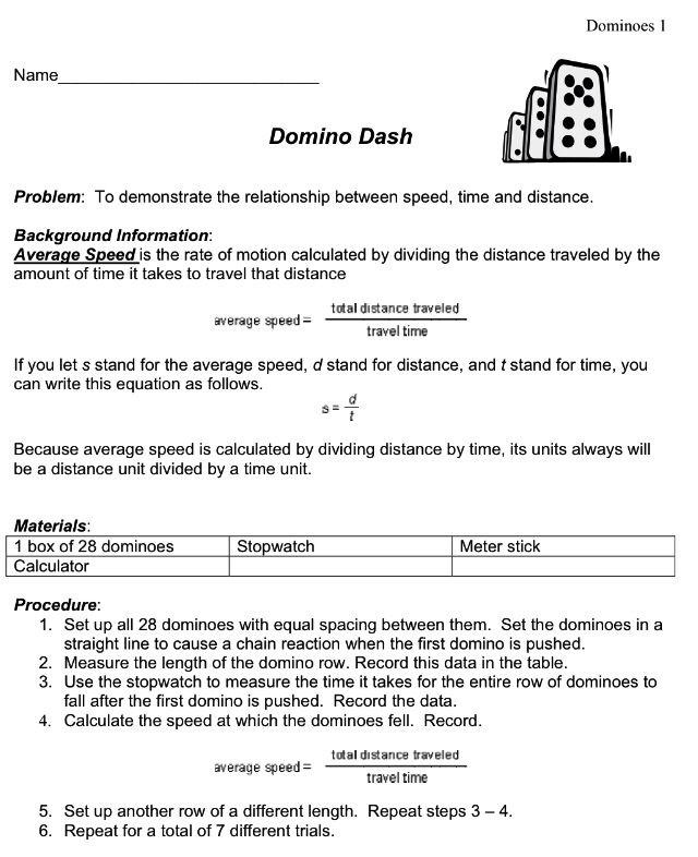 Domino Dash Activity found on science-class.net.  Select Physics, then Speed, Velocity, & Acceleration, & it is one of the numerous lab activities.     My students love this activity for speed.  Then I have them recreate the lab to add velocity.  They enjoy using the dominoes.   This covers graphing & many more concepts.