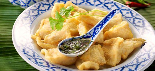 Delhaize - Gefrituurde vis met pittige saus