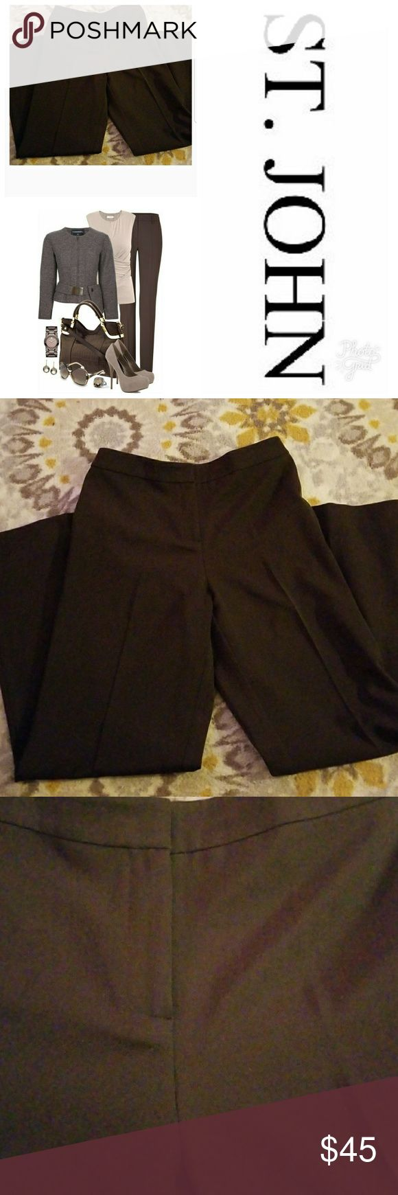 "St. John Brown Slacks/ Pants St. John brown slacks in excellent used condition. Zipper and clasp closure. Creasing in the legs. No pockets. Nice tailored look. Size 6. Inseam 31"" St. John Pants"