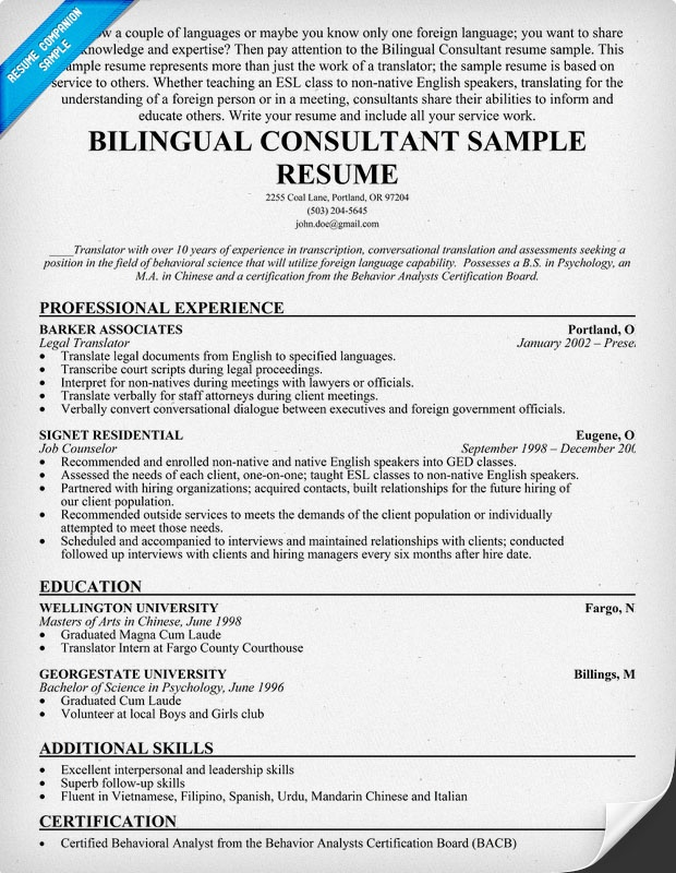 bilingual consultant resume sample  resumecompanion com