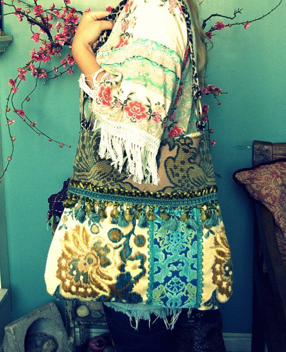 Boho carpet bag in blues and greens by Justbepurses on Etsy