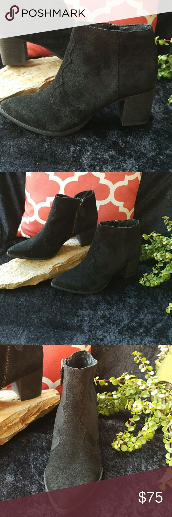 """Dolce Vita Block Heel Western Bootie New. Never Worn (No box). True to size black suede Dolce Vita Block Heel Western Bootie with an easy side zip closure.  Approximate measurements: Shaft: 4"""" Heel: 2 1/2"""" Dolce Vita Shoes Ankle Boots & Booties"""