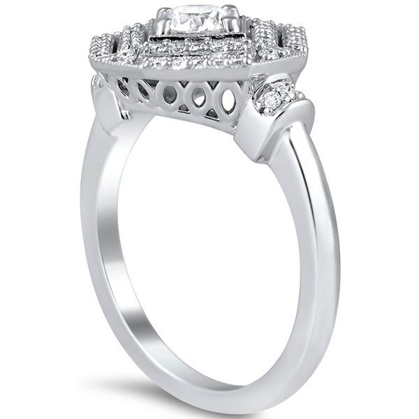 Engagement Ring -Double Halo Octagon Diamond Engagement Ring-ES1966 (6.220 BRL) ❤ liked on Polyvore featuring jewelry, rings, filigree diamond ring, square engagement rings, octagon diamond ring, diamond rings and square diamond rings