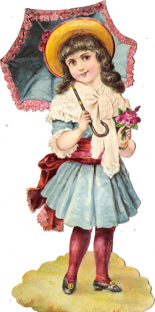 Oblaten Glanzbild scrap diecut chromo Kind child  XL  girl lady Schirm umbrella: