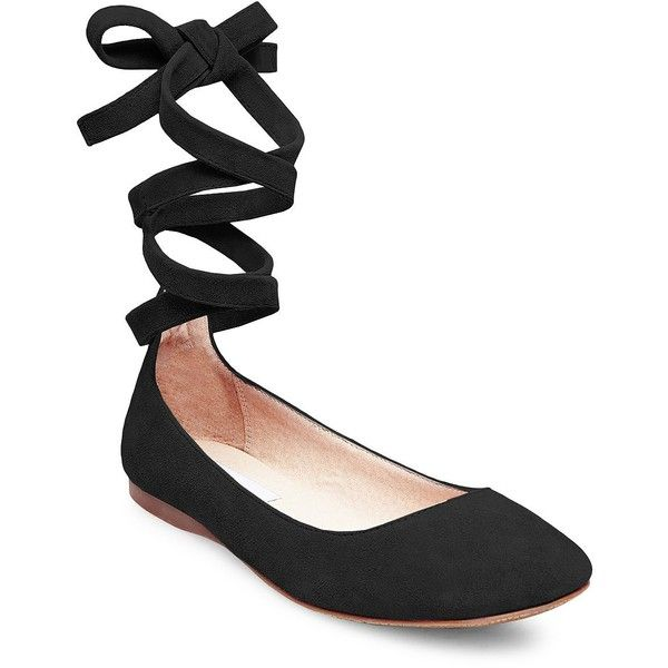 Steve Madden Bloome Suede Tie-Up Ballet Flats found on Polyvore featuring shoes, flats, black, ankle strap flats, black ballet flats, flat shoes, ankle tie flats and t-strap flats
