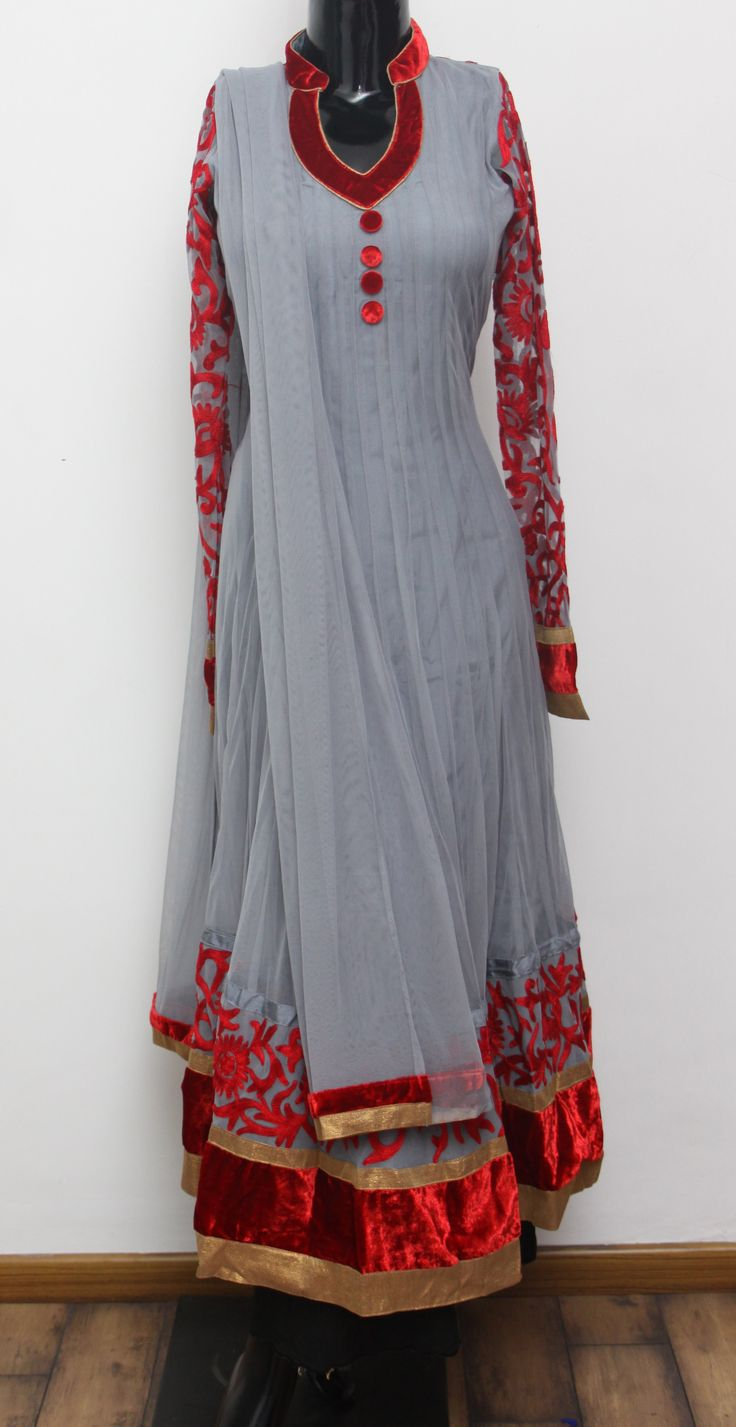 Party wear Grey Net Anarkali.  Net Dupatta Code - 2167 INR- 4450/- Visit us at ZIA, Adyar, Chennai or SHOP ONLINE @ ZIA, Adyar with a simple mail. Products delivered to your Doorstep. Inquiries: info@ziaethnic.com / 044 - 43605070.