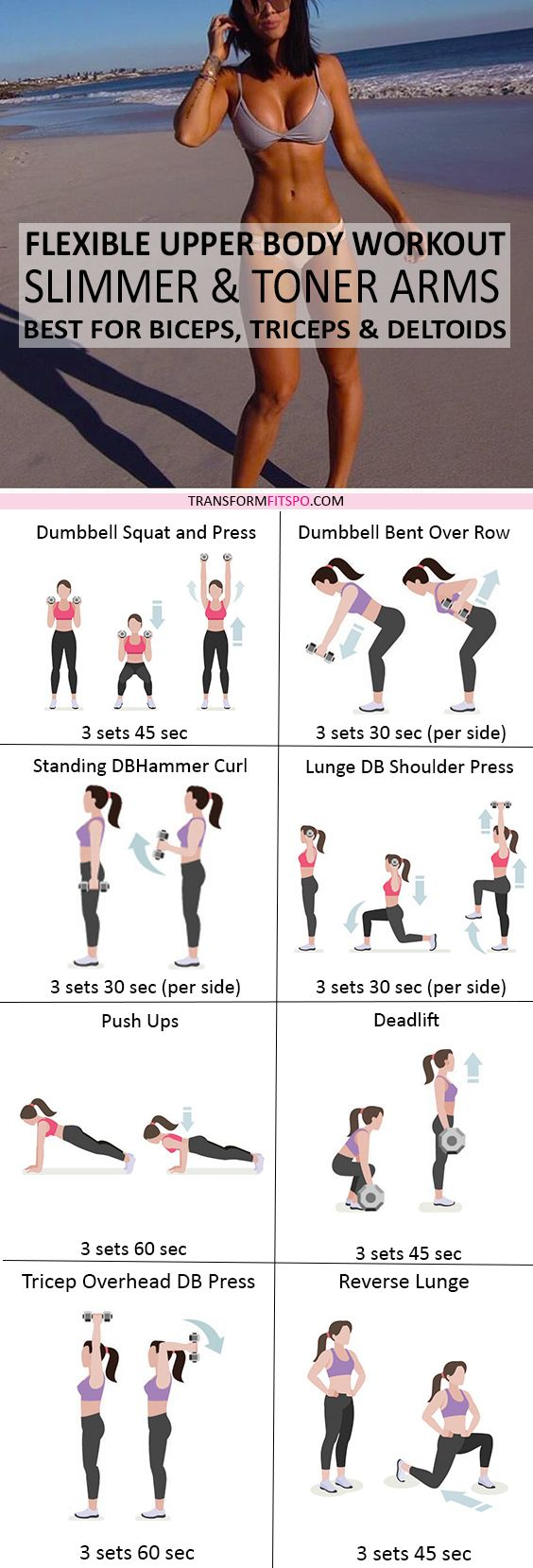 Repin and share if this gave you sexy toned arms! Click the pin for the workout descriptions!