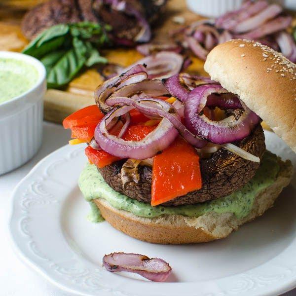 grilled portabella burgers   Garlic + Zest