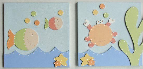 Quadros Bebê Fundo do Mar - O Canto das Artes - Decoração para Bebês
