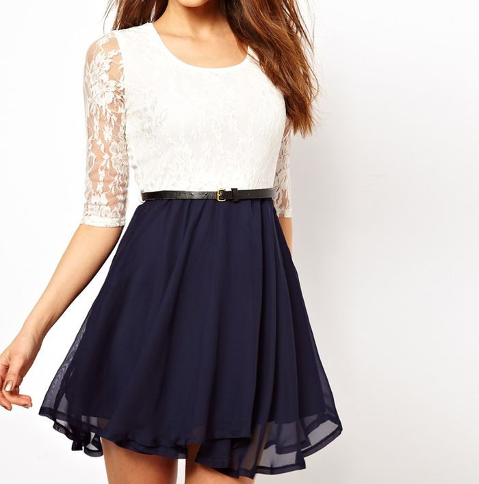 Ladylike U Neck Lace Splicing Ruffled Half Sleeve Dress For Women (WHITE,S) | Sammydress.com